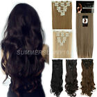 Long 8 pieces Curly Straight Full head Clip in on Hair Extensions Extention su76