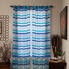 Lavish Home Sonya Grommet Sheer Single Curtain Panel - Striped 84 Inch
