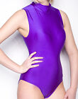 Purple Mock Neck Sleeveless Leotard Shiny Spandex Dancewear Bodysuit  S-3X
