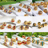 10pcs 6mm 8mm Crystal Rhinestone Spacer Loose Beads Flower Gold Plated Ball DIY