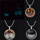 Fashion Glow In The Dark Glowing Glass Dome Cabochon Pendant Necklace Silver