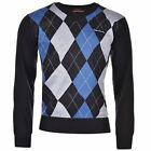 Pierre Cardin Mens Argyle Knitted Jumper Long Sleeve Pullover Sweater Top