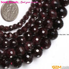 "Natural Faceted Round Garnet Gemstone Jewelry  Making Beads Strand 15"" SD0393-V"
