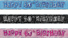 FOIL BANNER GLITZ PARTY BANNERS PINK BLUE BLACK BIRTHDAY 12ft AGE 30 40 50 60