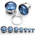 Pair Blue Revive Hand Stainless Steel Screw Ear Plugs Tunnels Expander Stretcher