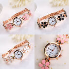 Chic Women Girls Daisies Flower Crystal Watches Bracelet Bangle Wrist Watch Gift