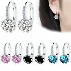 1 Pair Fashion Beauty Women Sapphire CZ Hoop Round Ear Stud Earrings Friend Gift