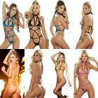 Espiral Metallic Strappy Bodysuit AM PM Sexy Thong Lingerie Electric Colors 8049