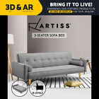 Artiss Linen Fabric Sofa 3 Three Seater Recline Bed Couch Lounge Chair Futon GY