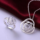 4 Colors 925Sterling Silver Zircon Flower Accessories Necklace+Ring Set S753A-D