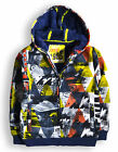 Boys Jacket New Kids Hooded City Printed Coat Fleece Lined Hoodie Ages 2 - 7 Yrs