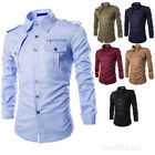 Stylish Mens Casual Long Sleeve Cargo Shirt Slim Fit Military Uniform Shirt Top