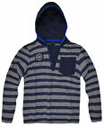 Boys Striped Blue  Hooded T Shirt New Kids Long Sleeved Cotton Tee Age 2-7 Years