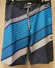 """DC Men's Board Shorts """"Laced Up-By"""" -- Color Black/Blue"""