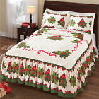 Collections Etc Holiday Cardinal Poinsettia Bedspread