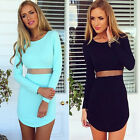 Fashion Women's Long Sleeve Bodycon Casual Party Evening Cocktail Mini Dress s12
