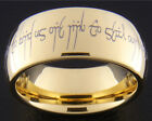 9MM GOLD TUNGSTEN WEDDING ELVISH LOVE RINGS SIZES 5-15