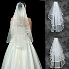 2 Layer White/Ivory Elbow Length Satin Edge Charms Bridal Veil with Comb