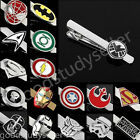 Hot Mens Superhero Justice League Style Ties Bar Clip Clasps Fashion Accessories