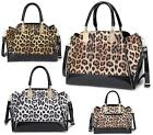 LADIES SHOULDER BAG SHINY PATENT LEOPARD TWIN HANDLE FASHION HANDBAG