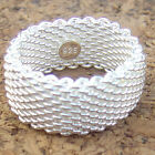 Men&Women's 925 Sterling Silver/18K Yellow Gold Filled 10mm Heart Mesh Band Ring