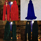 New Witch Velvet Cloak Adult Hooded Cape Halloween Wedding Costume Robe S M L XL