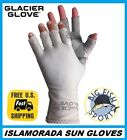 GLACIER ISLAMORADA FINGERLESS FISHING SUN GLOVES PICK YOUR SIZE #079GY +50UPF