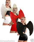 CHRISTMAS  FALLEN ANGEL WINGS BLACK RED WHITE REAL FEATHER 80CM WIDE ADULTS