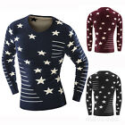 Mens Jumper V neck Fashion Star Long Sleeve Pullover Knitted Sweater Blouse Tops