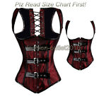Sexy Ladies Dark Red Lace Up Underbust Boned Corset G-string Top Bustier S-2XL
