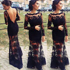 Lace Chiffon Backless Evening Formal Party Cocktail Long Dress Prom Gown BN