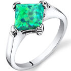 Created Green Opal Princess Cut Solitaire Ring Sterling Silver 1.00 Carat