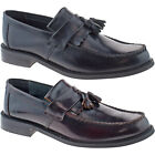 MENS ROAMERS BLACK OX BLOOD LOAFER SHOES LEATHER TOGGLE SADDLE SMART M900 KD