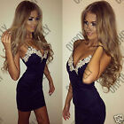 Womens Navy Bodycon Strappy V Neck Floral Lace Evening Party Ladies Short Dress