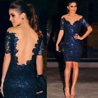 New Women Bandage Bodycon Lace Evening Sexy Party Cocktail Mini Dress Blue C3