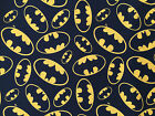 BATMAN logo on BLACK  : 100% LICENSED cotton fabric : by the 1/2 metre