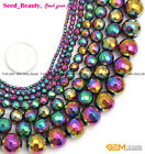 "New Round Faceted Multicolor Hematite Gemstone Jewelry Making Bead 15"" SD9572-V"