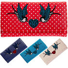 Womens New Retro Vintage 1950s Rockabilly Polka Dot Swallow Wallet Purse