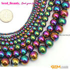 New Round Smooth  Multicolor Hematite DIY Jewelry Making Loose Gemstone Beads15