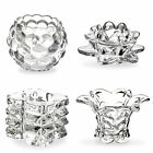 1 2 3 4 Clear Glass Designed T Tea Light Round Square Flower Candle Holder NEW