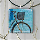 BICYCLE ON BLUE WALL DESIGN PENDANTS NECKLACE MEDIUM OR LARGE -src8Z