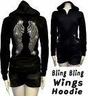 Lady Plus Size Angel Wings Rhinestone Hoodie Sweater Full Zip-Up Thick 1X2X3X4X