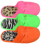 Ladies Bright Neon Slippers New Womens Slip On Animal Lined Slippers Size UK 3-8