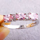Romantic Pink & White Topaz Gemstone Oval Cut Engagement Women Silver Ring Gift
