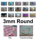 3mm Round Druk Czech Glass Beads 50 Choose Color