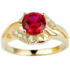 Yellow Gold Plated .925 Sterling Silver Ring Simulated Red Ruby Fashion Jewelry
