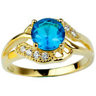Gold Plated 925 Sterling Silver Ring for Ladies Sea Blue Stone Fashion Jewelry