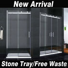 Luxury Sliding Shower Door Walk In Enclosure Easyclean Glass Cubicle Stone Tray
