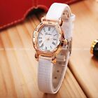 Rose Golden Case Little White Dial 3 Colours Leather Wrist Quartz Watch Gift