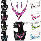 Chic Womens Charm Butterfly Crystal Choker Bib Necklace Earrings Jewelry Pendant
